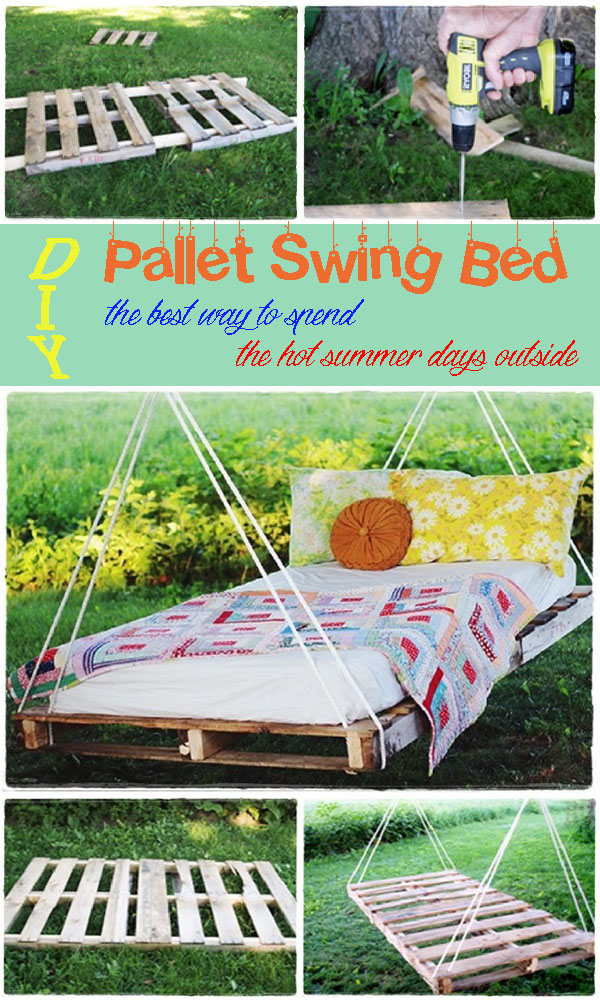 DIY Pallet Swing Bed the best way to spend the hot summer days outside